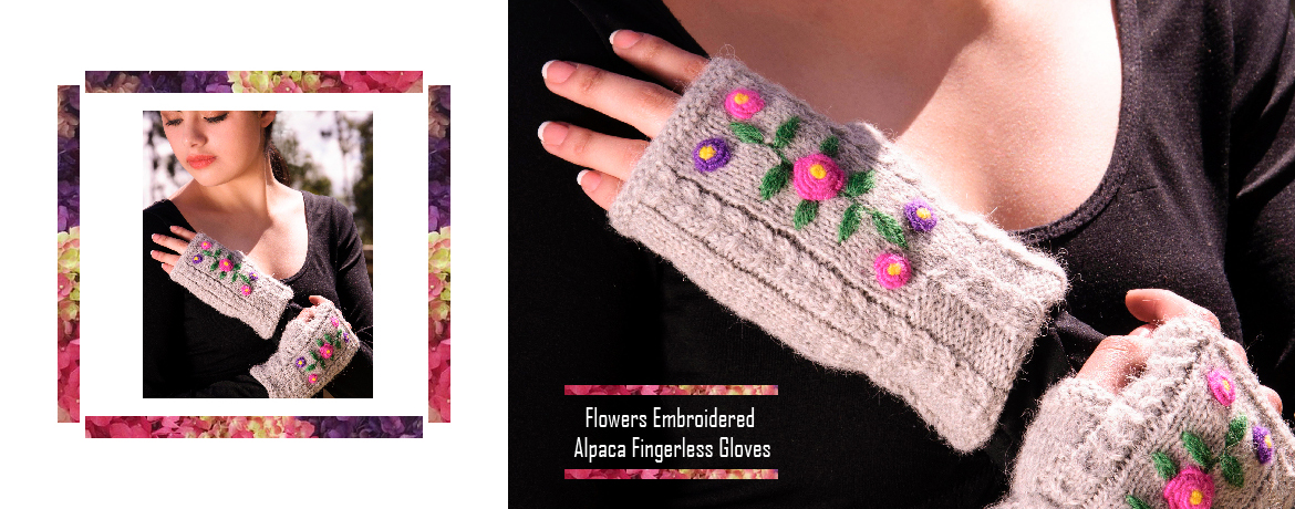 Flowers Embroidered Alpaca Fingerless Gloves